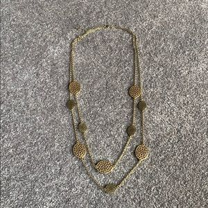 Double strand gold necklace